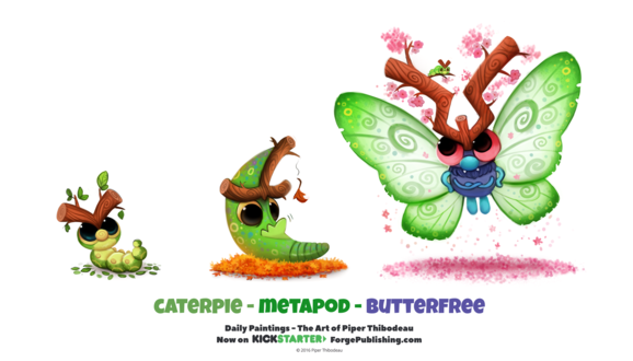 Фото Caterpie / Катерпи, Metapod / Метапод и Butterfree / Баттерфри из аниме Pokemon / Покемон (Caterpie / Metapod / Butterfree), by Cryptid-Creations