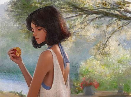 Фото Девушка с яблоком в руке стоит вполоборота на фоне природы, by Africa +