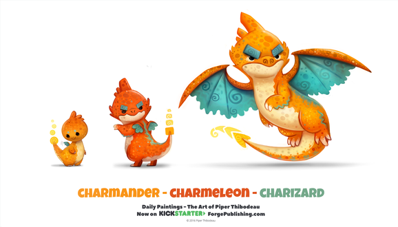 Фото Charmander / Чармандер, Charmeleon / Чармелеон и Charizard / Чаризард из аниме Pokemon / Покемон, by Cryptid-Creations
