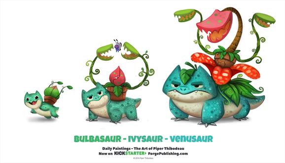 Фото Bulbasaur / Бульбазавр, Ivysaur / Ивизавр и Venusaur / Венузавр из аниме Pokemon / Покемон, by Cryptid-Creations