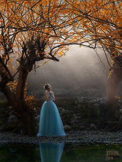 Фото Девушка с длинном голубом платье стоит у реки под ветвями дерева
