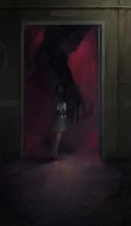 Фото Девочка с зайчиком в руках стоит в проеме двери и к ней тянется страшная черная рука, by Jay JiwooPark