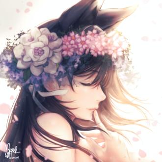 Фото Персонаж Atago / Атаго в венке из цветов