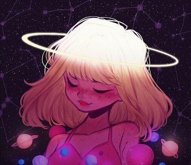 Фото Девочка с ореолом над головой