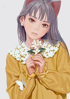 Фото Девочка-неко с букетиком цветов