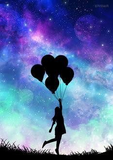 Фото Силуэт девушки с воздушными шариками, by Erisiar