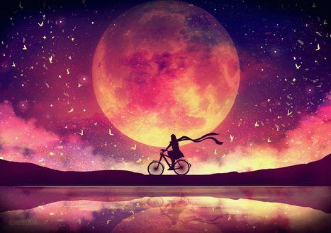 Фото Силуэт человека на велосипеде на фоне ночного неба и огромной луны, by Erisiar