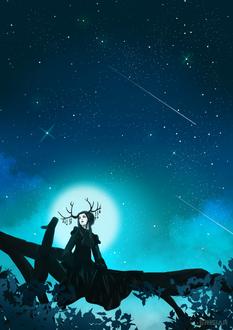 Фото Рогатая девушка сидит на дереве на фоне ночного неба и полной луны, by Erisiar