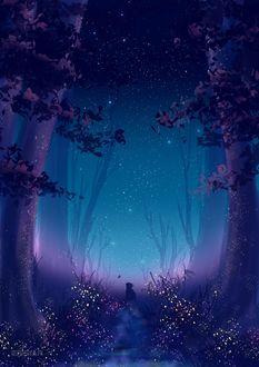 Фото Кошка смотрит на бабочку, сидя на тропинке в ночном лесу, by Erisiar