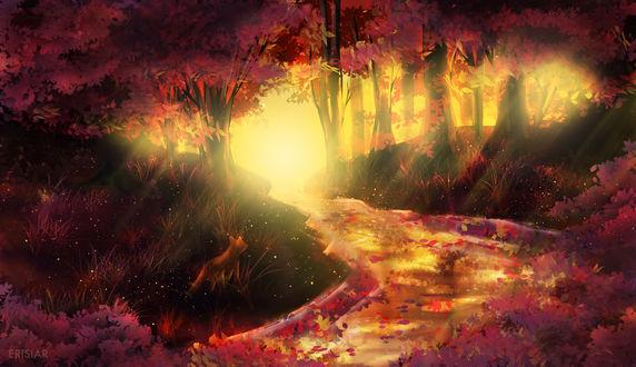 Фото Лиса в осеннем лесу, by Erisiar