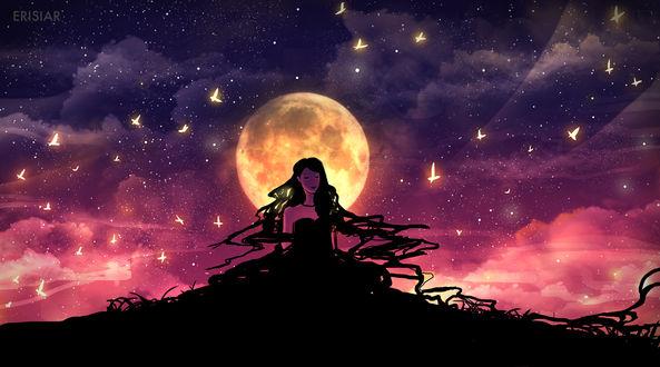 Фото Темноволосая девушка в черном платье на фоне ночного неба в окружении золотых бабочек, by Erisiar