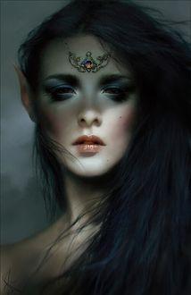 Фото Девушка - эльф с украшением на лбу, by Melanie Delon