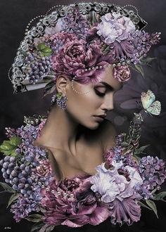 Фото Девушка в цветах, над которыми парит бабочка, by G Berry Art