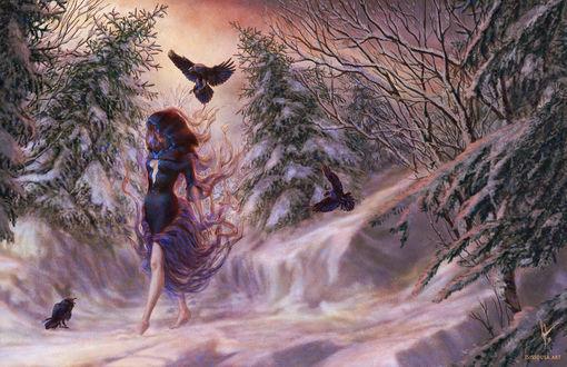Фото Девушка идет по снегу и над ней парит ворон, by Isis Sousa