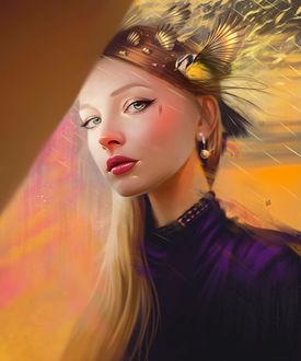 Фото Портрет девушки с синичкой у головы, by Yasar VURDEM