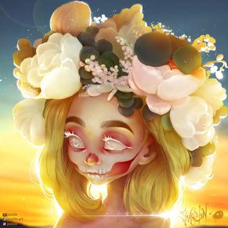 Фото Девушка-смерть в венке из цветов, by JoAsLiN