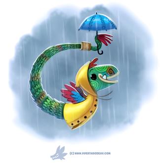 Фото Крылатая змейка в желтом плаще с зонтом под дождем, by Cryptid-Creations