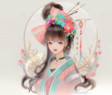 Фото Голубоглазая девочка японка с украшениями на волосах на сером фоне с цветами, by Dadachyo