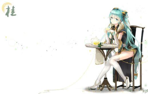 Фото Vocaloid Hatsune Miku / вокалоид Хацунэ Мику пьет чай, сидя за круглым столиком, by Kyod