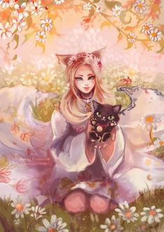 Фото Девушка с ушками сидит на цветочной поляне и держит в руках черного котика, by Joelin Tan