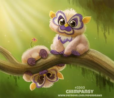 Фото Милые шимпанзе-цветочка на ветке (Chimpansy), by Cryptid-Creations