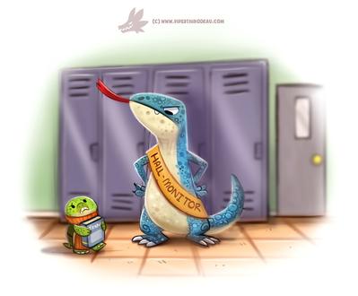 Фото Черепашка и ящерка в школьном коридоре, by Cryptid-Creations