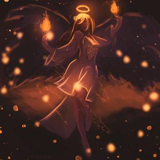Фото Девушка с огнями над руками и ореолом над головой, by Sara Hellis