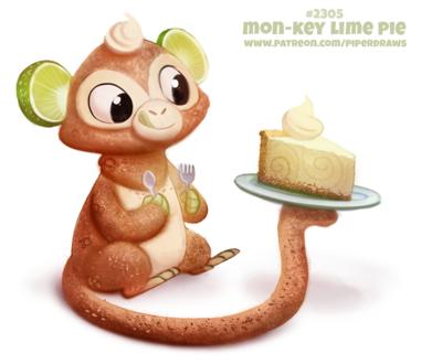 Фото Съедобная обезьянка смотрит на кусочек тортика (Mon-Key Lime Pie), by Cryptid-Creations
