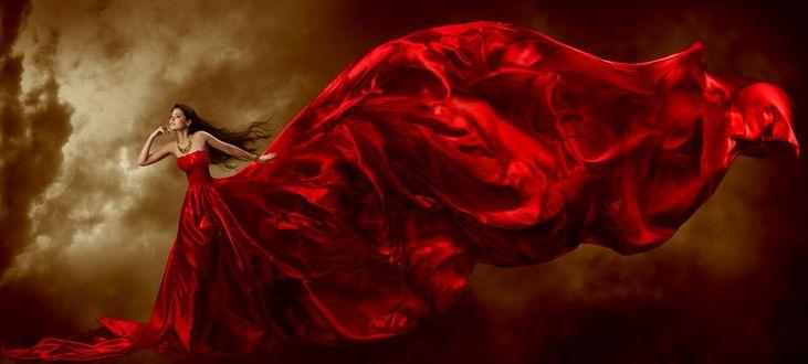 Фото Девушка в длинном красном развевающемся платье, фотограф Inara Prusakova