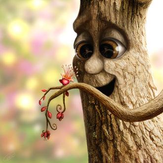 Фото Дерево радуется цветку на своей ветке, by T. L Theiss