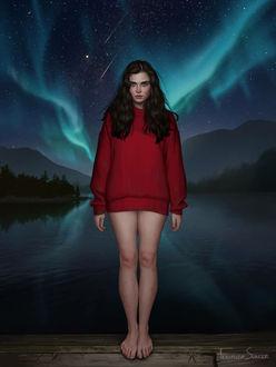 Фото Девушка в свитере стоит на фоне озера под ночным небом с северным сиянием, by Fernanda Suarez