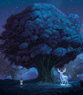 Фото Мужчина и олень стоят у дерева, by Alina Movsesova