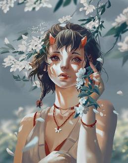 Фото Девушка-демон у цветущего дерева, by Windami