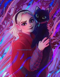 Фото Sabrina Spellman / Сабрина Спеллман и Салем из фильма и сериала Sabrina, the Teenage Witch / Сабрина — маленькая ведьма, by Y0Y0Sketch