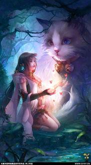 Фото Девушка и огромная кошка в волшебном лесу, by GjschoolArt