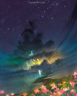 Фото Девушка стоит в воде и смотрит на молнии в небе, by Yuumei