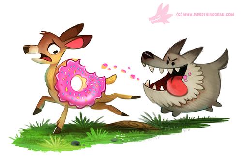 Фото Волк гонится за оленем-пончиком, by Cryptid-Creations