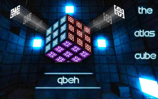 Фото Статуя кубика Рубика, из которого исходили белые лучи света, стоявшая в комнате одного из строений с ярким и приятным для глаз освещением голубоватого оттенка, которое было построено из кубоблоков-монолитов / Qbeh The Atlas Cube
