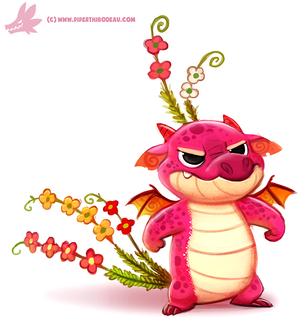 Фото Розовый дракончик с цветочками, by Cryptid-Creations