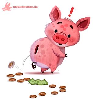 Фото Хрюшка-копилка смотрит на выпавшие деньги, by Cryptid-Creations