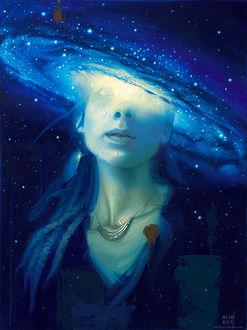 Фото Девушка на фоне космоса, by robrey