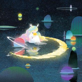 Фото Рогатая девочка со звездами на волосах сидит в воде, в которой плавают планеты и отражается полумесяц, by Little Oil