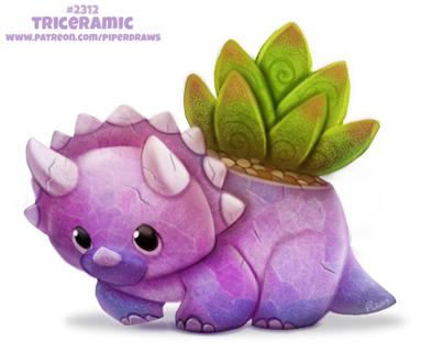 Фото Трицератопс в виде горшочка для растения (Triceramic), by Cryptid-Creations
