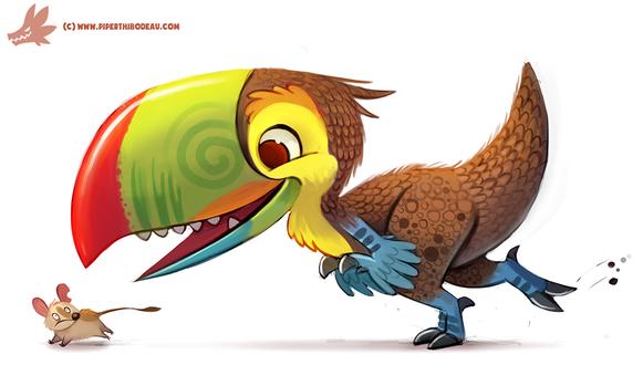 Фото Тираннозавр-тукан гонится за мышкой, by Cryptid-Creations