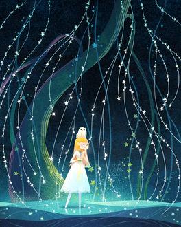 Фото Девочка с совой на голове стоит в воде, прижимая к лице нить со звездами, by minayuyu