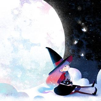 Фото Девочка-ведьма и черный кролик смотрят на бабочек, сидя на облаке в ночном небе рядом с луной, by minayuyu