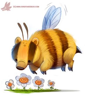 Фото Пчела-барсук над цветами, by Cryptid-Creations