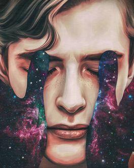 Фото Руки с изображением космоса на лице парня, by Elena Masci