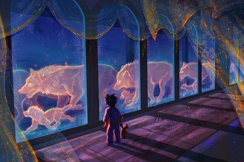 Фото Мальчик с плюшевым мишкой в руке смотрит на призрачную стаю волков, пробегающих за окном, by TamberElla