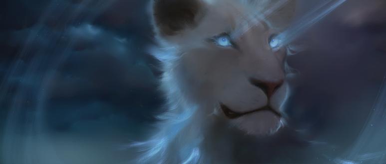 Белая львица, из глаз которой выходят голубые лучи света, by belethi